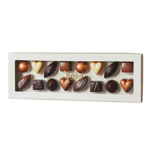 selection, fyldt chokolade, ganache, karamel, chokoæske